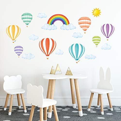 DECOWALL DWT-1801 Rainbow e mongolfiere Adesivi da Parete Decorazioni Parete Stickers Murali Soggiorno Asilo Nido Camera da Letto per Bambini