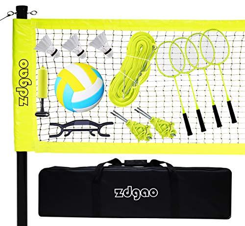 Outdoor-Volleyball- und Badminton-Kombi-Set – tragbares professionelles tragbares Outdoor-Badminton-/Volleyball-Netzsystem mit Stangen, Winde und Tragetasche für Hinterhöfe, Strand
