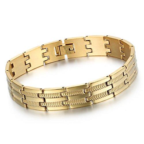 Cupimatch Herren Edelstahl Gold Armband, 12mm Breite Schlange Knochen Muster Fahrradkette Biker Hochglanz Poliert Rock Armreif Armkette
