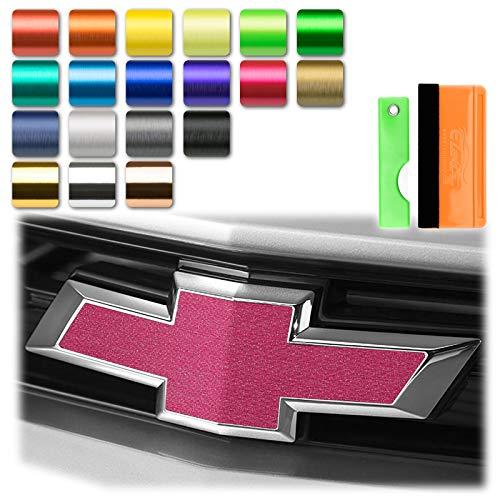 EZAUTOWRAP Free Tool Kit 2Pcs 5'x10' Chevy Emblem Bowtie Pink Brushed Aluminum Vinyl Wrap Sticker Decal Film Overlay Sheet