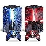 Schutzfolie für Microsoft Xbox Serie X Konsole, Vinyl, mit 2 Controller-Aufklebern, Rot / Blau