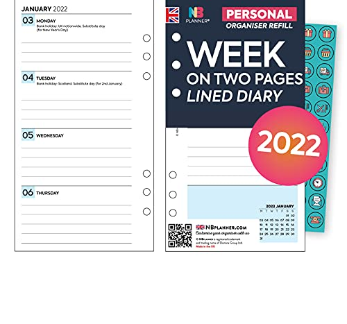 NBplanner 2022 Personal size Week on two pages lined diary organiser refill insert & stickers Filofax Personal compatible