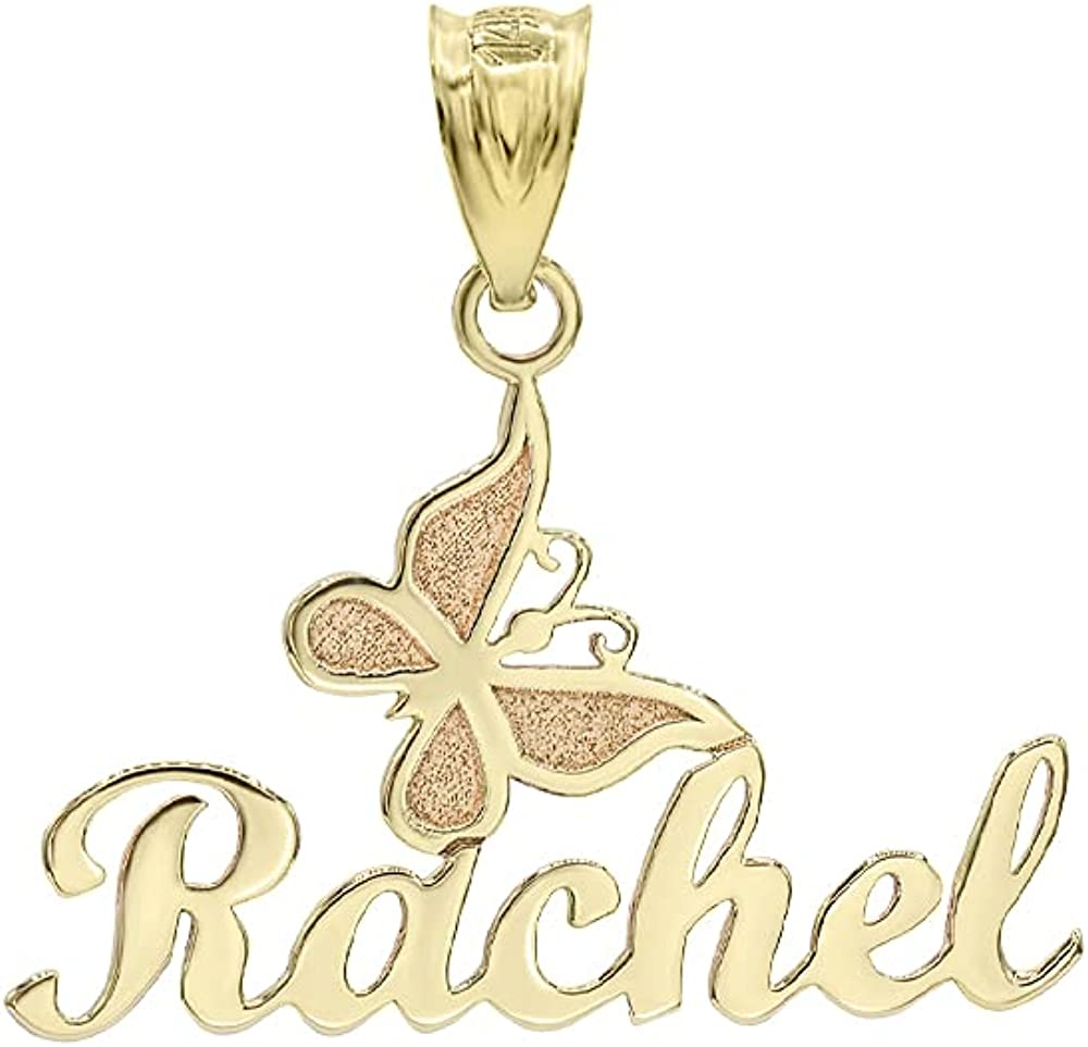 Superior Certified 10k Yellow Gold Personalized Cu Philadelphia Mall Butterfly Name Pendant