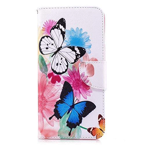 CoverKingz Handyhülle für LG Q Stylus - Handytasche mit Kartenfach LG Q Stylus - Handy Hülle klappbar Motiv Schmetterling