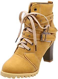 Motorbike Heeled Boots for Women Shoes,60s Ankle Winter Lace Up Insoles Goth Chukka Martin Zip Desert Tactical Hug Platform Size 3-7 (Color : Yellow, Size : 5.5 UK)