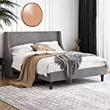 Einfach Full Size Platform Bed Frame with Wingback Headboard / Fabric Upholstered Mattress Foundation with Wooden Slat Support, Light Grey