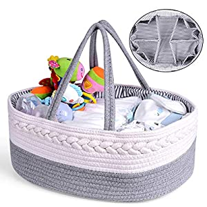 Baby Diaper Caddy Organizer, 100% Cotton Rope Nursery Storage Basket with Removable Division Inserts, 6 Grids 8 Pouches, for Baby Boy or Girl Shower Newborn Essential Gift Basket Bag – Large