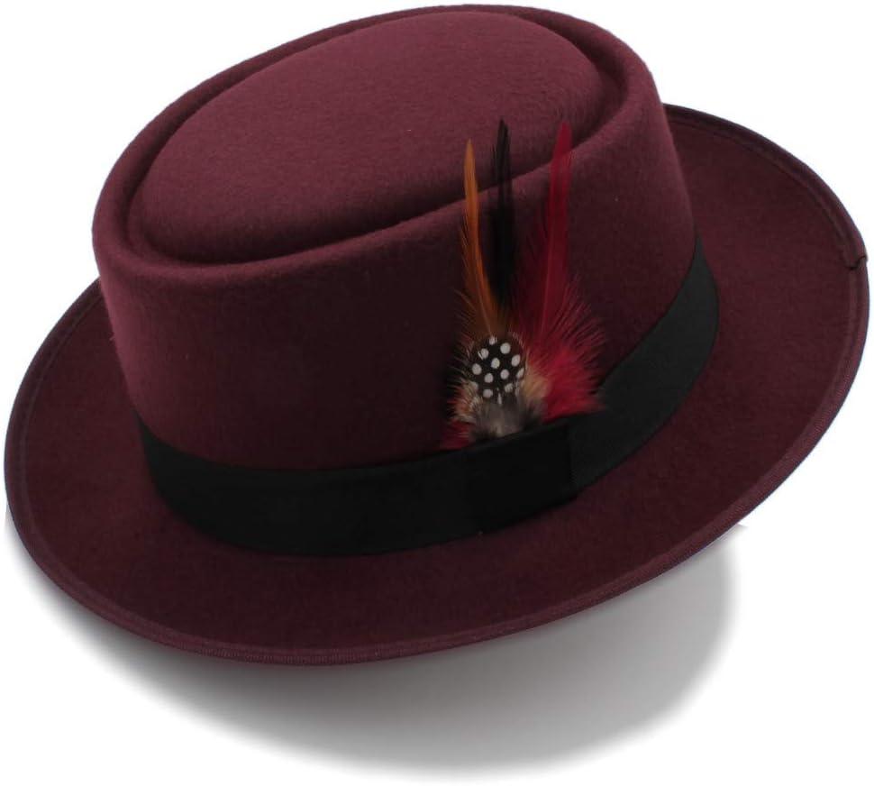 Retro Unisex Wide Brim Round Top Cap Fedora Porkpie Pork Pie Bowler Hat Leather Band,Lightweight,Breathable (Color : Wine red, Size : 56-58cm)