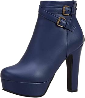 Zanpa Women Fashion Autumn Shoes Block Heels Ankle Boots
