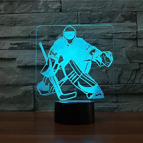 Wangzhongjie Led 3D Usb Nachtlicht 7 Farbwechsel Eishockey Goalie Modellierung Usb Schreibtisch Tischlampe Led Sportfans Geschenke Home Beleuchtung Dekor