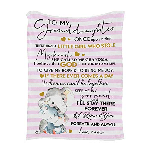 """Personalized Throw Blanket with Name & Message to My Granddaughter from Grandma, I Love You Forever and Always, Customized Blanket with Your Own Text & Names - Unique Gifts 50""""x60"""""""