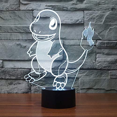 WoloShop Lampara LED Pokémon Charmander Cambia Color USB Luz Nocturna