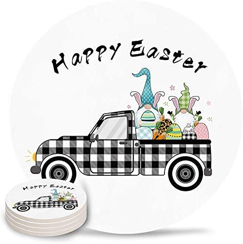 Posavasos para bebidas Juego de 4 posavasos de cerámica absorbente de camión de cuadros escoceses de búfalo negro con huevos de Pascua divertidos divertidos con respaldo de corcho para bar, ofici