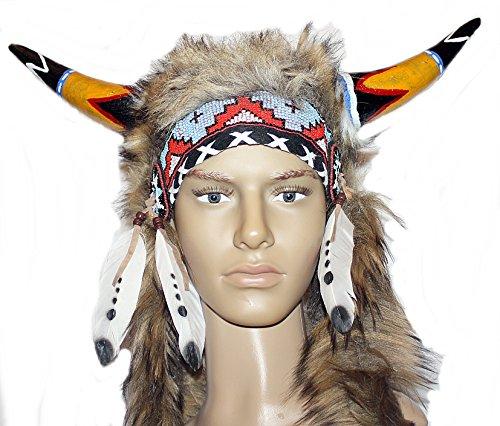 Hejoka-Shop Indianer Kopfschmuck UNIKAT Hörnerhaube echter Horn für FOTOSHOOTING Fasching Kostüm Medizinmann Indianer