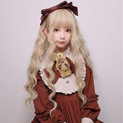Anime giapponesi Lolita Elf Principessa Cosplay Moda parrucca Donna Festa di Carnevale Spettacolo teatrale Copricapo Puntelli Bambola kawaii Capelli ricci lunghibianco panna