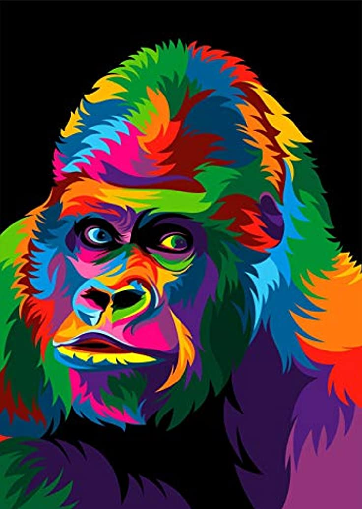 iFymei DIY Oil Painting Kit , Paint by Numbers for Adults & Kids & Beginner , 16 x 20 inch Canvas & Acrylic Paints - Coloured Chimpanzee