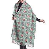 Bufanda de invierno étnico-floral con patrón sin costuras, para mujer, vestido de noche, dama de honor, boda, novia, largo, grande, cálido, grueso, reversible, reversible