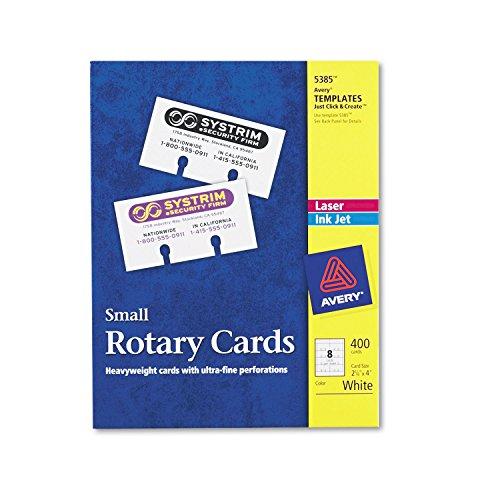 Avery 5385 Laser/Inkjet Rotary Cards, 2-1/8-Inch x4-Inch, 8/Sht, 400/BX, White