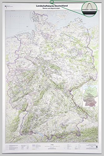 Landschaftskarte Deutschland 1 : 750 000: Wandkarte mit Aufhänger und Bestäbung (Deutschland-Wandkarten 1:750 000)
