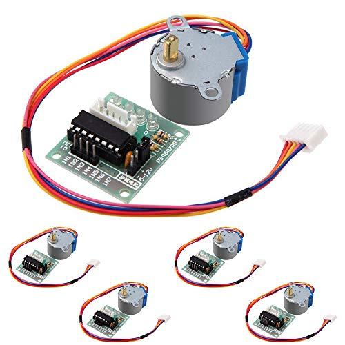 morismoon 5Stück/lot 5V Phase 4-Stepper Step Motor + Treiberplatine ULN2003mit Drive Test, Maschinen Modul Board für Arduino Raspberry Pi Kit