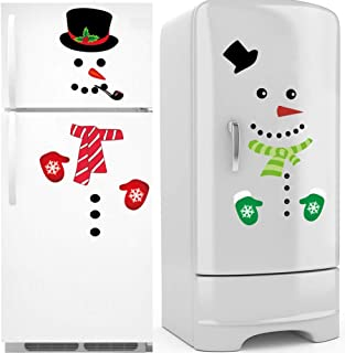 TBFUNNY Christmas Snowman Refrigerator Stickers, Holiday Decorations Set-Santa Claus Snowman Handle Covers Snowman Clings Kitchen Appliance Decals