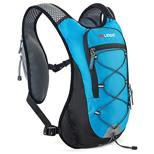 Gelindo Hydration Backpack Running Water Backpack with 2L Hydration Bladder, Insulated Cycling Hydration Vest Outdoor Lightweight Packs for Mochilas Trail Marathon Running Race for Men Women Sky Blue