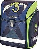herlitz Mochila Escolar Midi 50013807, vacía, Verde Robo Dragon, 1 Pieza