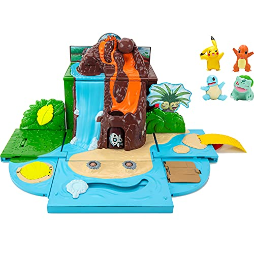 Pokemon Carry 'N' Go Volcano Playset with 4 Included 2-inch, Pikachu, Charmander, Bulbasaur, and Squirtle! Bring Everywhere - Playsets for Kids Fans