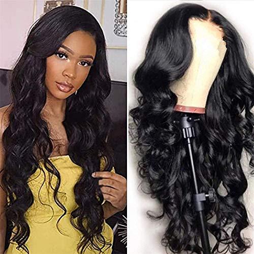 Hermosa peluca larga ondulada Pelucas sintéticas de peluca negra ondulada largas para mujeres Pelucas de pelo resistentes al calor de la onda natural Cosplay Peluca de fiesta para las mujeres Negros 2