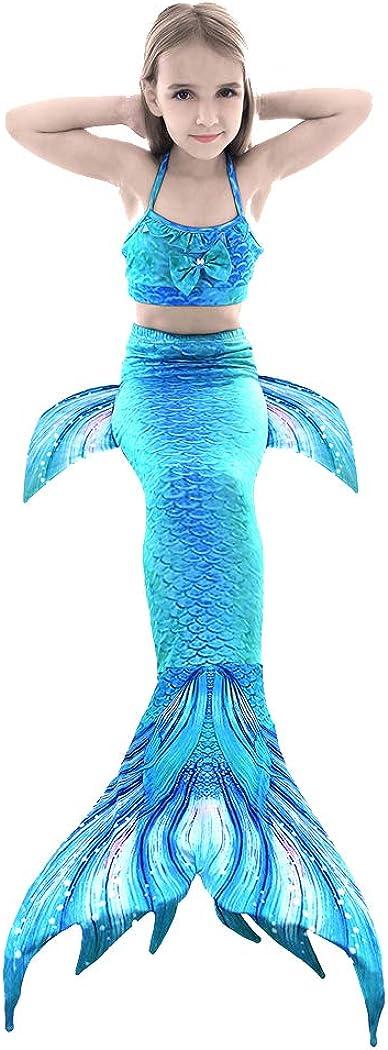 Shangrui 3 Pcs Mermaid Tail Girls Costume Swimsuit 3-12 Years Ba
