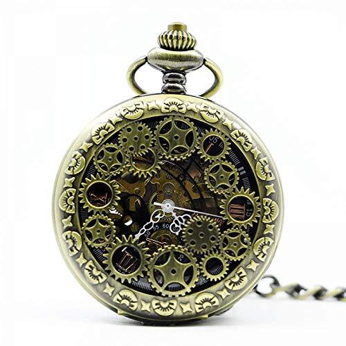 Mano de obra elegante y simple, exquisita, buenos Reloj de bolsillo Antiguo Esqueleto Números romanos Dial Dial Estuche de aleación negra Mecánico Mano Viento Largo FOB Cadena Reloj Hombres Reloj de b