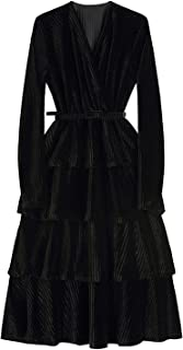 Fbnzmluqlyq Long Dress Velvet Dress Women Fashion Vintage V-Neck Elegant Casual Long Sleeve Female Black Party Evening Dre...