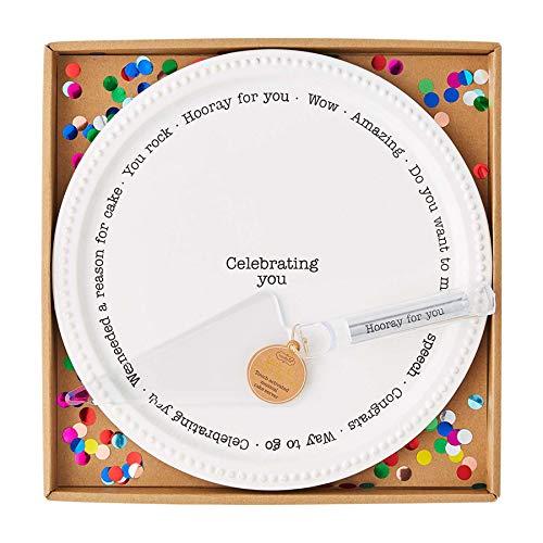 Mud Pie Cake Plate with Musical Server, 11' Dia 10 1/2', White