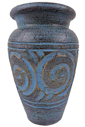 Rotfuchs Terracottavase Tonvase Blumenvase aus Ton 20 cm hoch Handarbeit Türkisblau