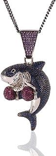KMASAL Jewelry - Collana con ciondolo a forma di squalo da boxe, placcata in oro 18 carati, per uomo e donna (argento)