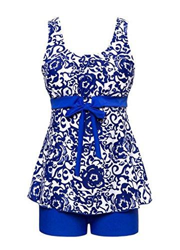 Angcoco Women's 2-Piece Tummy Control Swimsuit Swimdress Tankini Plus Size