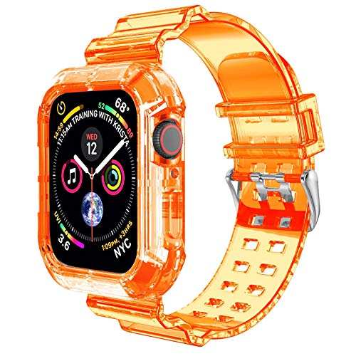 Clear Watch Band for Apple Watch 42mm 44mm,Transparent Clear Soft Silicone Sports iWatch Band Strap for Apple Watch Series 6/5/4/SE(Orange 44mm)
