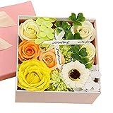 Kugusa ソープフラワー 石鹸花 枯れない花 フレグランス ボックスアレンジ メッセージカード付き (黄色・イエロー(スクエア))