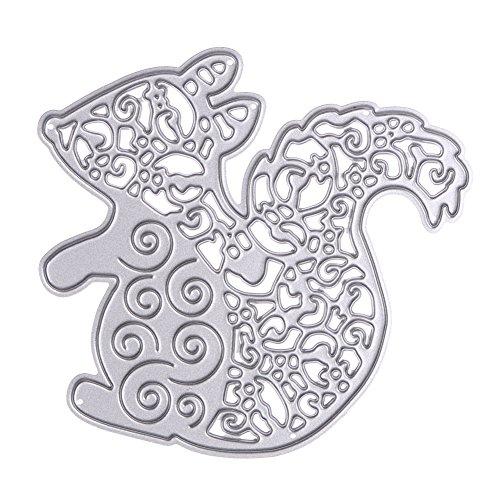 Demiawaking 1Pcs Niedliche Eichhörnchen Schneiden Schablonen DIY Sammelalbum Dekor Papier Karten, Metall Buchzeichen , Metall Lesezeichen als Geschenk fuer Freunde