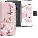 kwmobile Wallet Hülle kompatibel mit Apple iPhone SE (1.Gen 2016) / 5 / 5S - Hülle Kunstleder mit Kartenfächern Stand Magnolien Rosa Weiß Altrosa