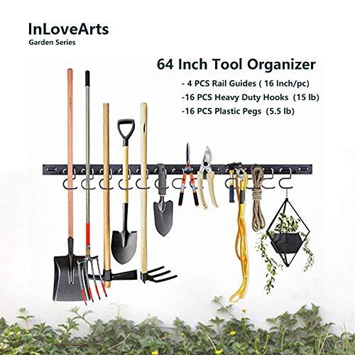 CheungLee Garden Tool Organizer, 64 Inch Adjustable Storage System Wall Mounted Yard Tool Organizer for Garage with 16 Metal Heavy Duty Hook & Plastic Peg