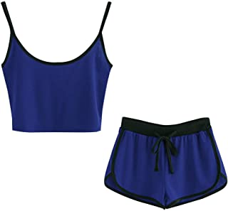 c0e1945be6 Willsa Women Sleeveless Crop Cami Tops Blouse+Cord Shorts Outfit Set Sports  Suit