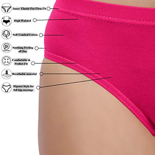Emotions Women's Cotton Hipster Panties with Inner Elastic (95 cm, Extra Large, 38i-Inch Waist) -Pack of 3