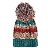 Color City Bohemian Crochet Knit Slouchy Pom Pom Handmade Beanie Winter Ski Warm Hat (Green)