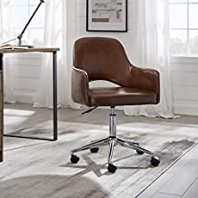 Volans Mid Back Faux Leather Swivel Office Chair with Wheels, Modern Open Backrest Height Adjustable Computer Desk Chair, Cognac