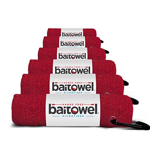 Bait Towel Red 6 Pack Microfiber, 16' x 16', Carabiner Clip (Blood Red)