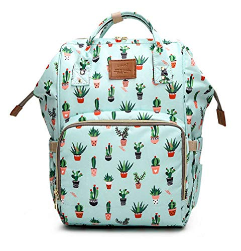 Large Capacity Baby Diaper Bag Backpack Waterproof Travel Nappy Bags Cute for Mom and Dad (Cactus)