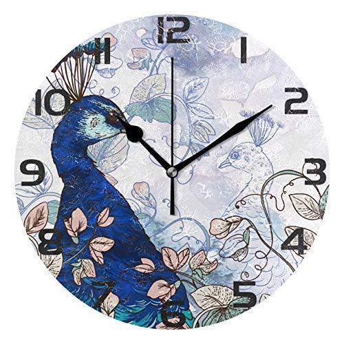 Mailine Weinlese mit runder Acryl-Wanduhr der Blumen, stilles Nicht tickendes Ölgemälde Home Office School dekorative Uhr Kunst