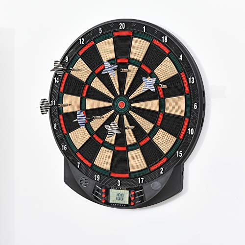 HOMCOM LED Electronic Dartboard Set Features 26 Games w/ 185 Variations and...