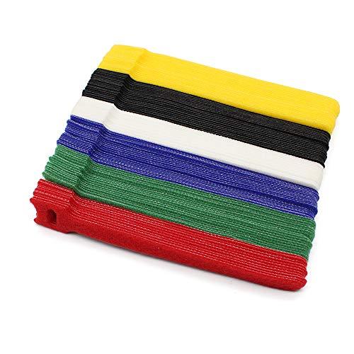 Dylan-EU 100 Piezas Bridas Velcro 150 mm Cinta Velcro Multicolor Cable Ties...